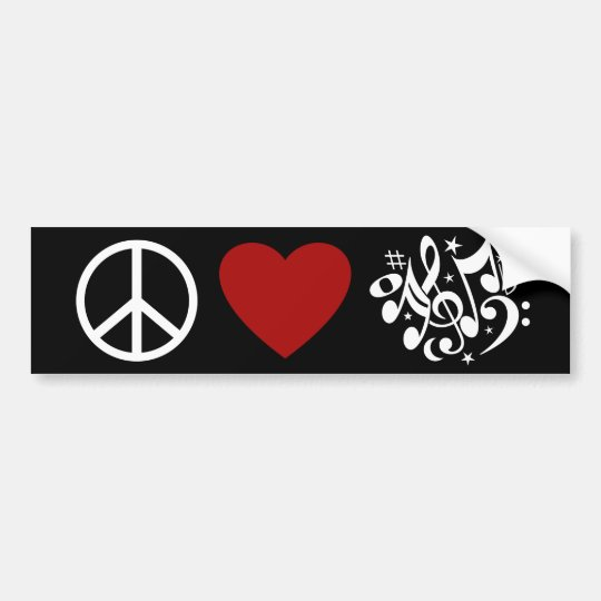 Peace Love Harmony Red Heart White Musical Notes Bumper Sticker