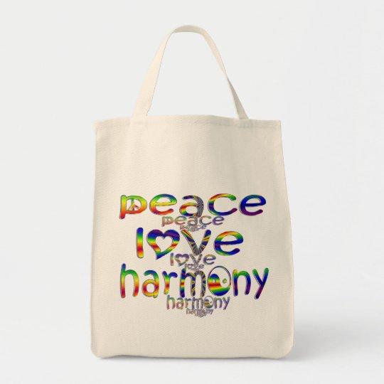 Peace Love Harmony Tote Bag