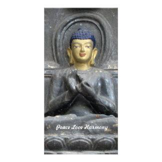 Peace Love Harmony with Buddha Customised Photo Card