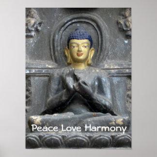 Peace Love Harmony with Buddha Poster