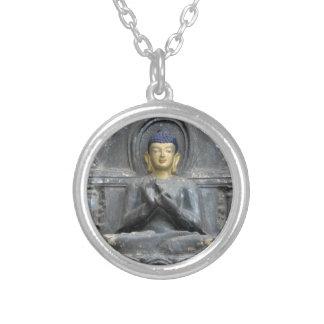 Peace Love Harmony with Buddha Round Pendant Necklace