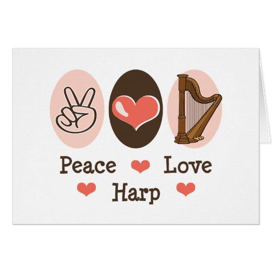 Peace Love Harp Blank Note Card