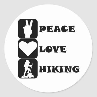 Peace Love Hiking Round Stickers