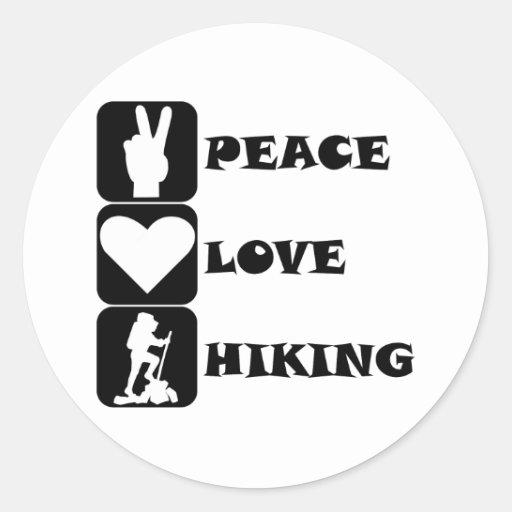 Peace Love Hiking Round Sticker