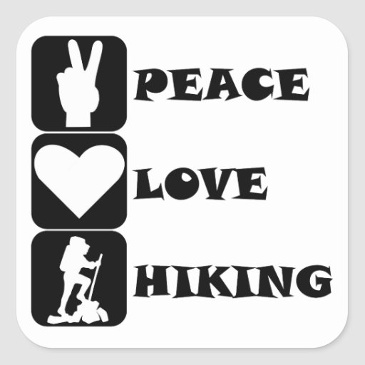 Peace Love Hiking Square Stickers