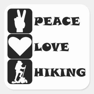 Peace Love Hiking Square Sticker