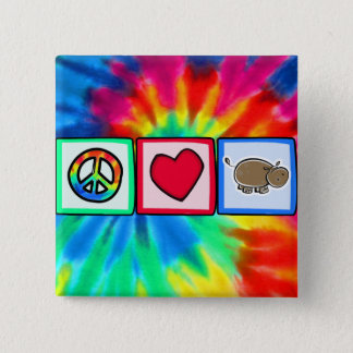 Peace, Love, Hippos 15 Cm Square Badge