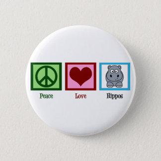 Peace Love Hippos 6 Cm Round Badge
