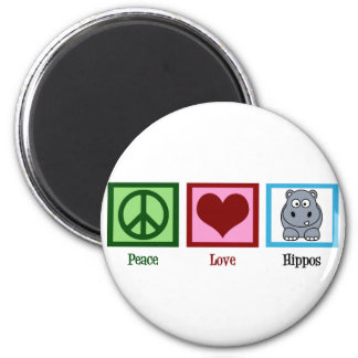 Peace Love Hippos 6 Cm Round Magnet