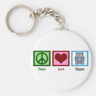Peace Love Hippos Basic Round Button Key Ring
