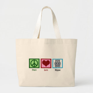 Peace Love Hippos Large Tote Bag