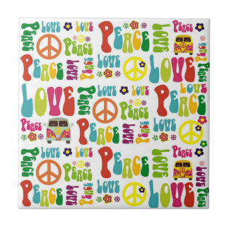 Peace Love Hippy Pattern Small Square Tile