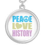 Peace Love History Round Pendant Necklace