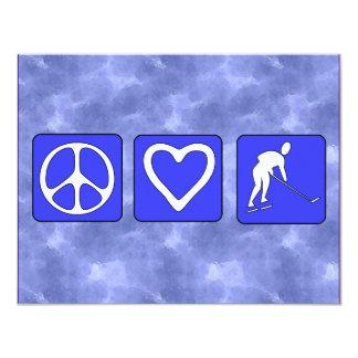 Peace Love Hockey 11 Cm X 14 Cm Invitation Card