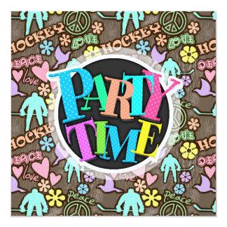 Peace, Love, Hockey 13 Cm X 13 Cm Square Invitation Card