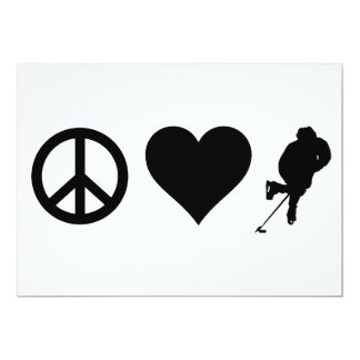 Peace Love Hockey 13 Cm X 18 Cm Invitation Card