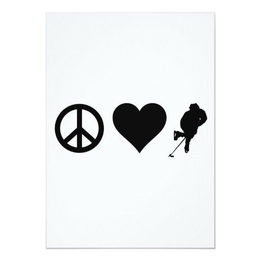 Peace Love Hockey 13cm X 18cm Invitation Card