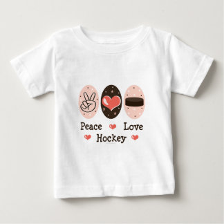 Peace Love Hockey Baby T shirt