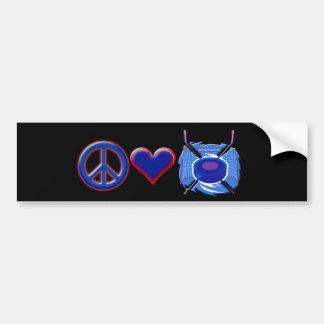 Peace ~ Love ~ Hockey Bumper Sticker