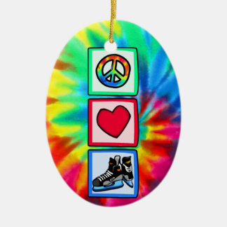 Peace, Love, Hockey Christmas Ornament