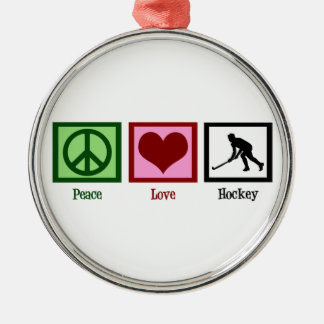 Peace Love Hockey Silver-Colored Round Decoration