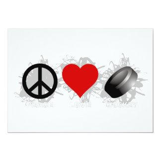 Peace Love Hockey Emblem 13 Cm X 18 Cm Invitation Card
