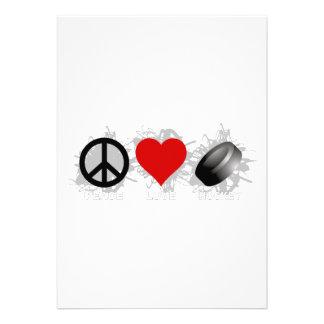 Peace Love Hockey Emblem Custom Invitations