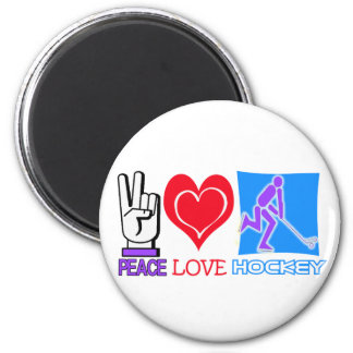 PEACE LOVE HOCKEY GIFTS 6 CM ROUND MAGNET
