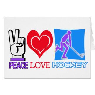 PEACE LOVE HOCKEY GIFTS GREETING CARD