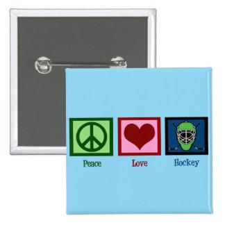 Peace Love Hockey (Goalie Mask) Cute 15 Cm Square Badge