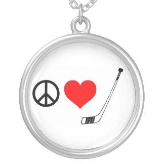 Peace Love Hockey Necklace