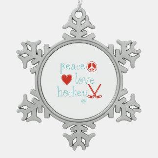 Peace Love Hockey Pewter Snowflake Decoration