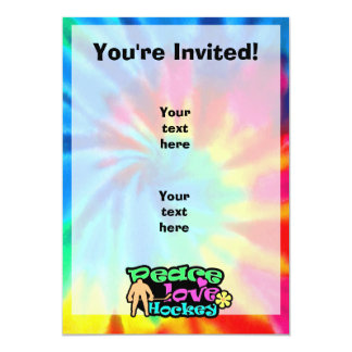 Peace, Love, Hockey; Retro 13 Cm X 18 Cm Invitation Card