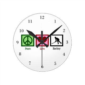 Peace Love Hockey Round Clock