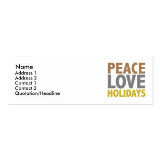 Peace Love Holidays Christmas Design Pack Of Skinny Business Cards