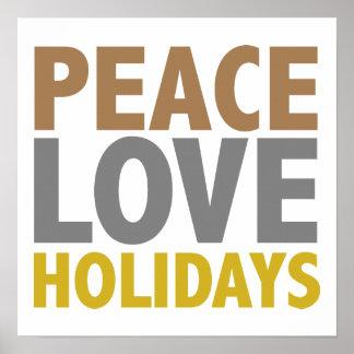 Peace Love Holidays Christmas Design Print