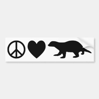 Peace, Love & Honey Badgers Bumper Sticker