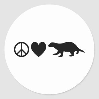 Peace, Love & Honey Badgers Classic Round Sticker