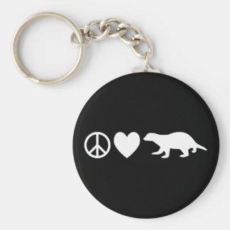 Peace, Love & Honey Badgers Key Ring