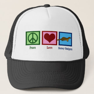 Peace Love Honey Badgers Trucker Hat