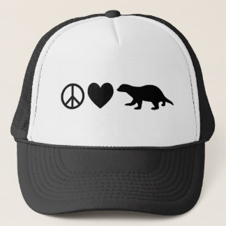 Peace, Love & Honey Badgers Trucker Hat