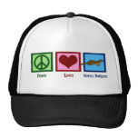 Peace Love Honey Badgers Trucker Hats