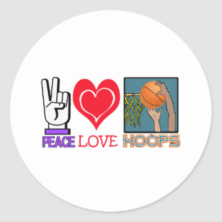 PEACE LOVE HOOPS (basketball) Round Sticker