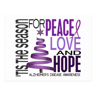 Peace Love Hope Christmas Alzheimer's Disease Postcard