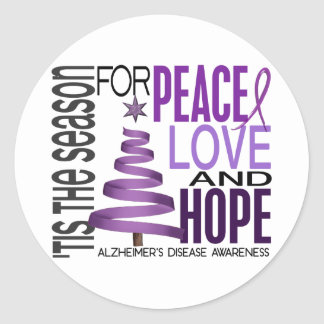 Peace Love Hope Christmas Alzheimer's Disease Round Sticker