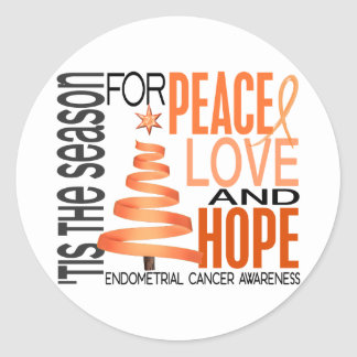 Peace Love Hope Christmas Endometrial Cancer Round Stickers