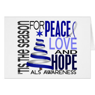 Peace Love Hope Christmas Holiday ALS Greeting Card