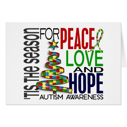 Peace Love Hope Christmas Holiday Autism Card