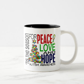 Peace Love Hope Christmas Holiday Autism Mugs