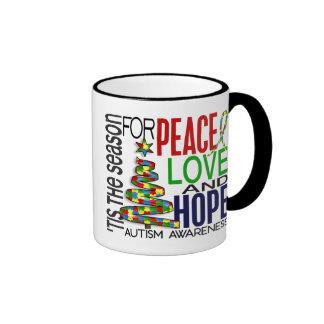 Peace Love Hope Christmas Holiday Autism Coffee Mugs